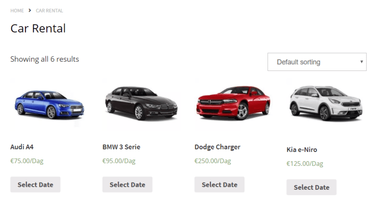 Example webshop with bookable Rental Cars