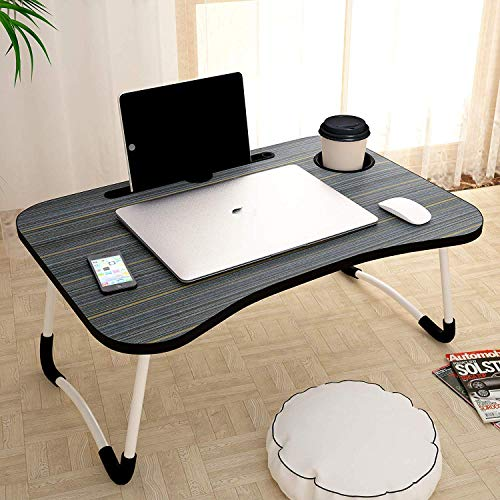 DV S Laptop Table with Cup Holders &Tablet Holder Non-Slip Legs Multipurpose Foldable and Portable Lapdesk for Study {Black Colour}
