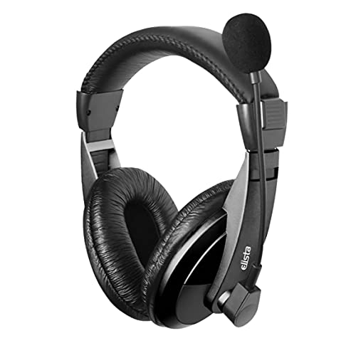 Elista Multimedia Headphone Crown EW100CM with Mic, Adjustable Headband for PC/Laptop (Double Pin)