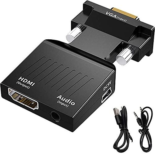 Technotech VGA to HDMI Adapter/Converter with Audio (Old PC to TV/Monitor with HDMI), Male VGA to HDMI Video Adapter for TV, Computer, Projector with Audio, Power Cable -D-Sub, 15-pin