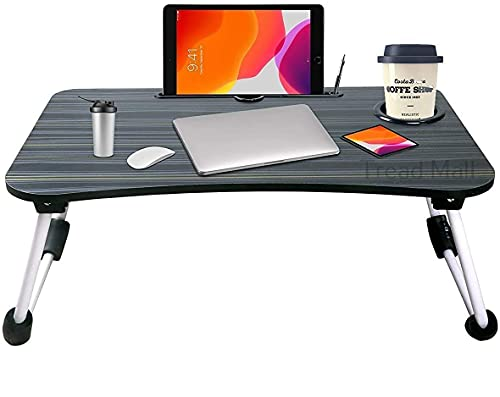 Tread Mall Laptop Desk, Portable Laptop Bed Tray Table, Folding Laptop Table with Tablet Stand Slot and Cup Slot for for Reading Books, Eating Breakfast, Watching Movies,Black