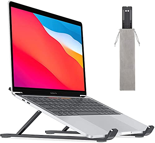 Wrixty Laptop Stand Adjustable for Desk, Portable iPad Stand Computer Stand, Plastic Laptop Riser Holder, Foldable Laptop Cooling Stand Use MacBook/iPad Pro Air/Notebook/Tablet (ABS Plastic)