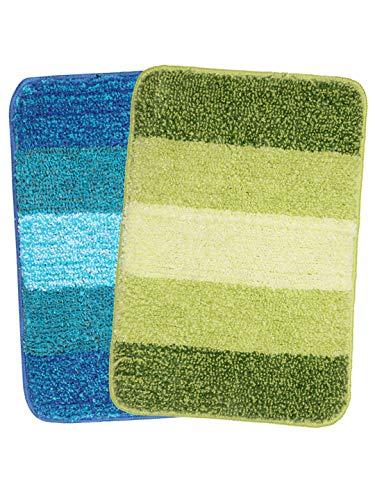 SARAL HOME EASY LIVING Striped Anti-Skid Bath Mat (Turquoise, Green, Microfiber, 35X50 CM)