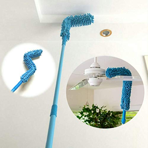 WIDEWINGS Foldable Microfiber Fan Cleaning Duster Flexible Fan mop for Quick and Easy Cleaning of Home, Kitchen, Car, Ceiling, and Fan Dusting Office Fan Cleaning Brush with Long Rod(Multi Color)