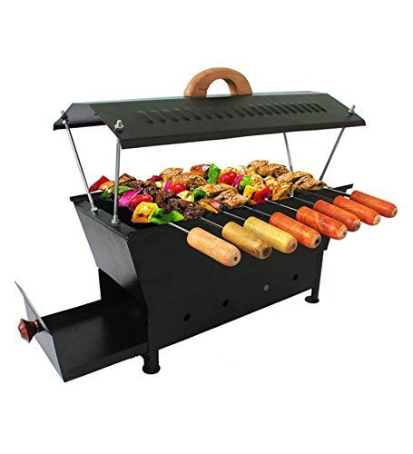 A TO Z HOME & KITCHEN Barbeque Grill   Travel Essentials   Hut Shaped Barbeque with 8 Skewers Charcoal Grill Compact BBQ Black Iron Barbecue