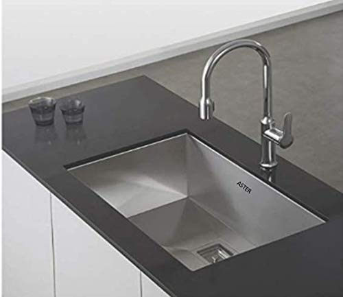 ASTER PM-SB-SQ-2418 Kitchen Sink, Silver, Matt Finish