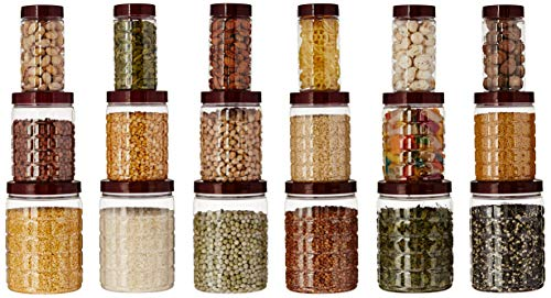 Amazon Brand - Solimo Checkered Jar Set of 18, 1000 ml, 500 ml, 200 ml, Transparent, Plastic