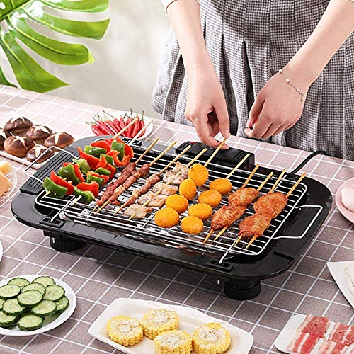 DK HOME APPLIANCES Amazon Choiced Smokeless Indoor/Outdoor Electric Grill Portable Tabletop Grill Kitchen BBQ Grills Adjustable Temperature Control, Removable Water Filled Drip Tray, 2000W, Black