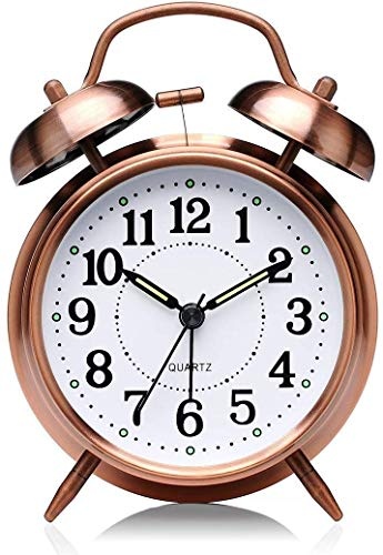 DK HOME APPLIANCES Twin Bell Alarm Clock for Heavy Sleepers with Night Led Display - 5 Inches