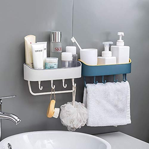 HOME CUBE Multipurpose Plastic Shelf Wall Storage Rack with Magic Sticker Towel Holder with 4 Hook for Kitchen Bathroom (Random Colour, Standard) -2 Pieces