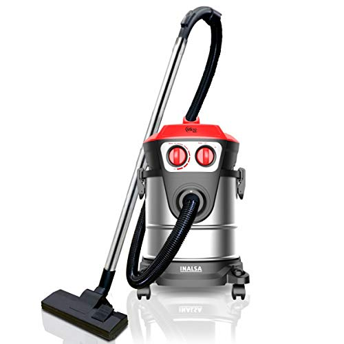 INALSA Vacuum Cleaner Commercial/ Industrial Wet and Dry Micro WD21-1600W with 3 in 1 Multifunction Wet/Dry/Blowing Hepa Filteration & 21KPA Powerful Suction,(Red/Black)