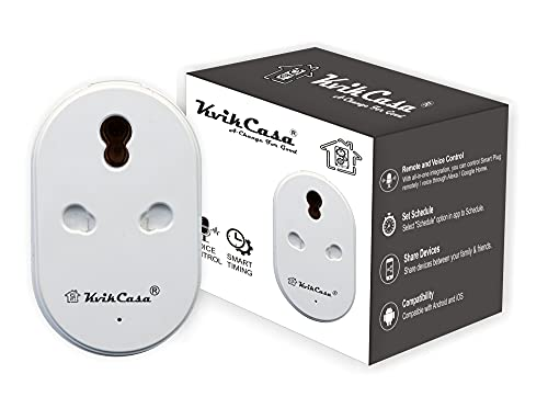 Kvikcasa® Wifi Heavy Duty 16A Smart Plug With Energy Monitoring Works With Alexa And Google Home Assistant, No Hub Required, Remote Control Your Home Appliances From Anywhere, Suitable for Large Appliance like Air Conditioners, Geysers and Microwave Ovens