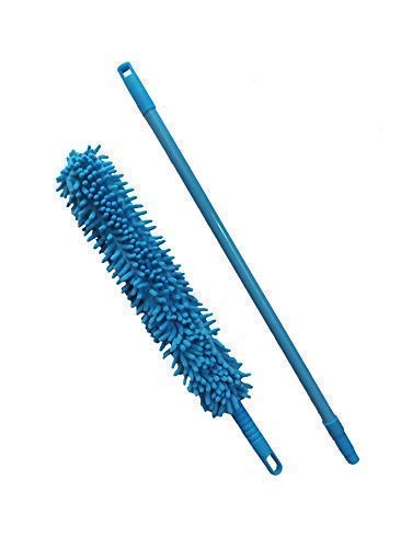 Qwebars Flexible Feather Magic Microfiber Cleaning Duster Brush with Extendable Rod for Home car Fan Duster (Random Color, Standard)