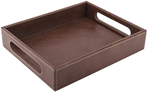 SHAGUN Brown Leather Serving Tray with Handles for Home & Kitchen (10 x 14 x 2 inches)