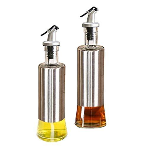 SixStar Stainless Steel Olive Oil Dispenser Bottle, Glass Cooking Oil & Vinegar Cruet for Kitchen and 300 ml Steel Pack of 2pcs[300ml,Pack of 2]