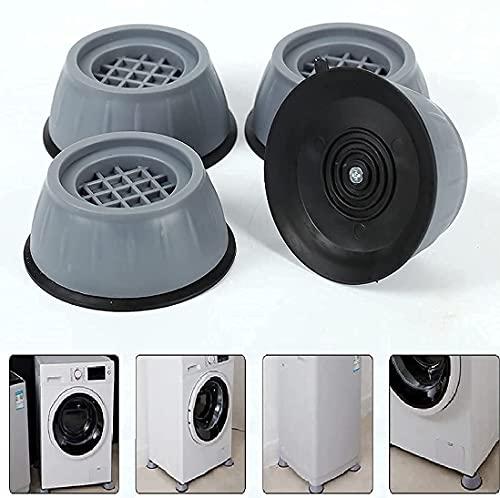 TIMESOON Washer Dryer Anti Vibration Pads with Suction Cup Feet, Fridge Washing Machine Leveling Feet Anti Walk Pads Shock Absorber Furniture Lifting Base(4 Piece). (MALTI)