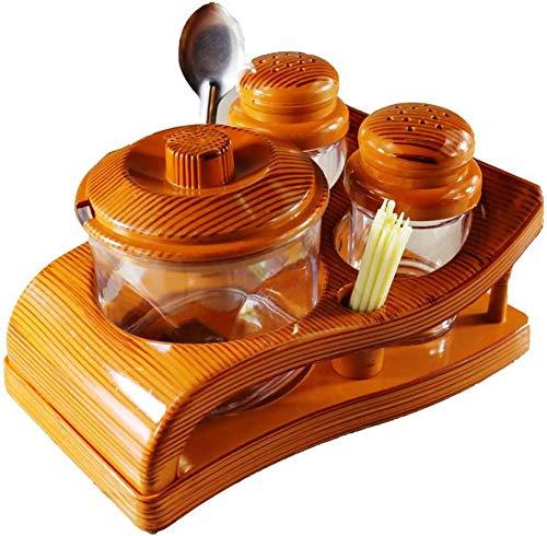 aufers ® Oscar Food Grade Salt/Pepper/Pickle Set with Stand for Kitchen/Dining/Transparent/Wooden Design_Plastic 4 Piece Salt & Pepper Set (Plastic)
