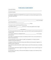 Simple Home Purchase Agreement business form letter template