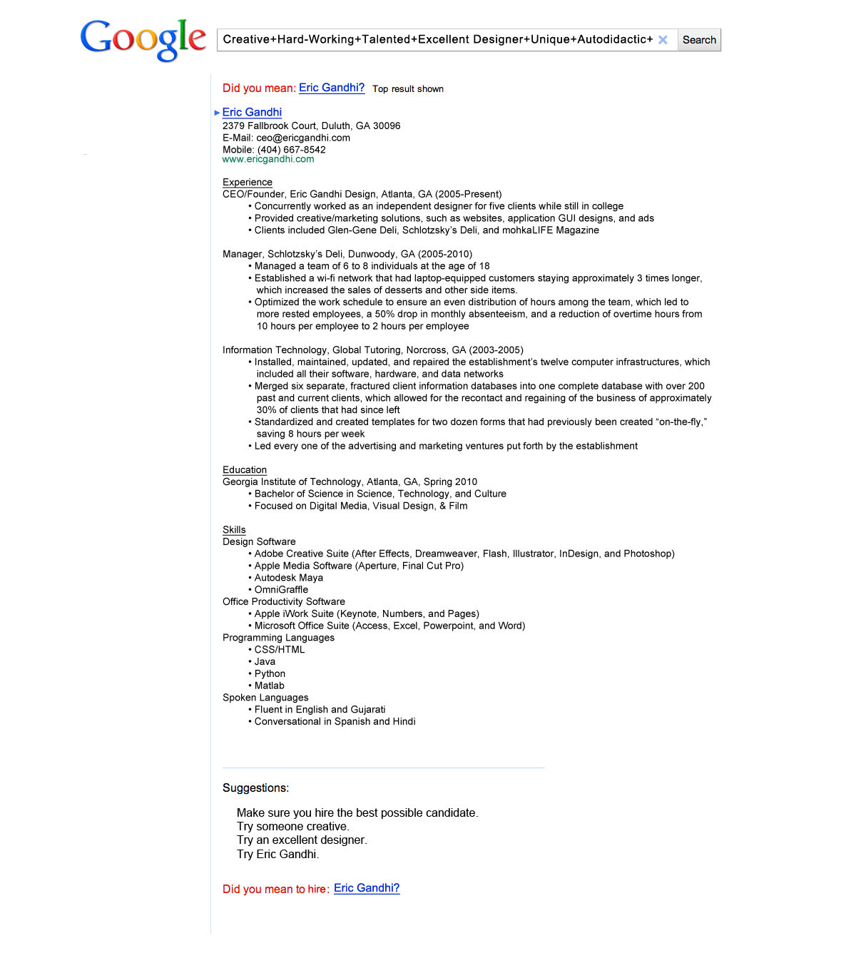 Resume Valley A Google Themed Resume Got Eric Gandhi An Interview With