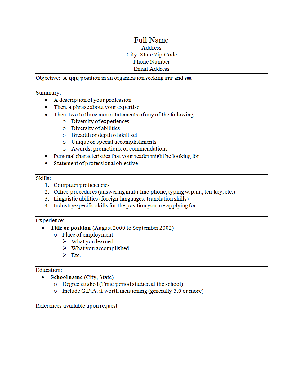 Type Resume How To Write A Resume
