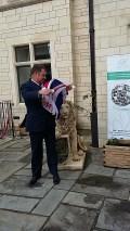 Unfurling the flag.....