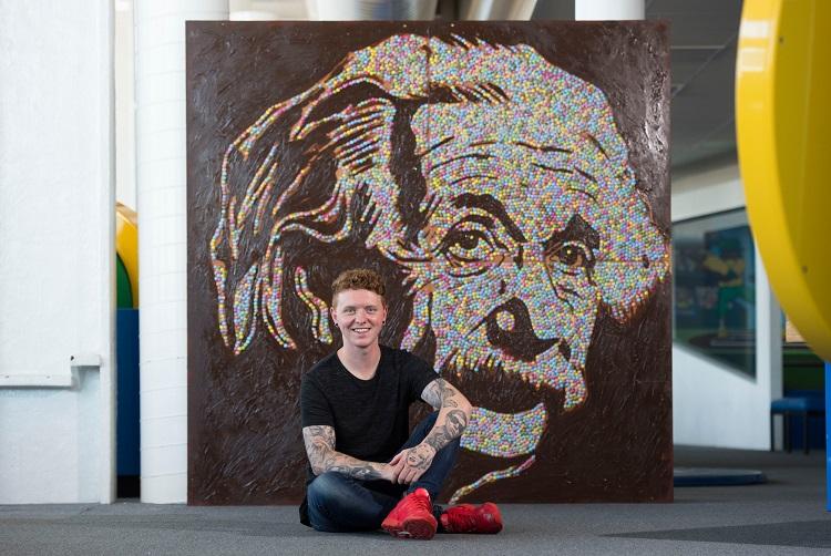 Nathan Wyburn with Smarties Einstein portrait - Copy