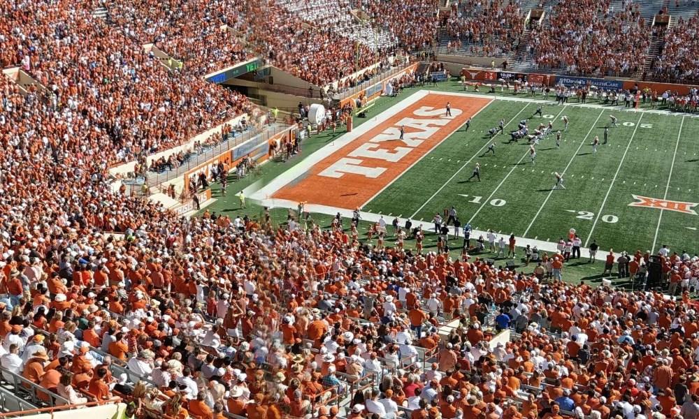 Texas football stadium on game day