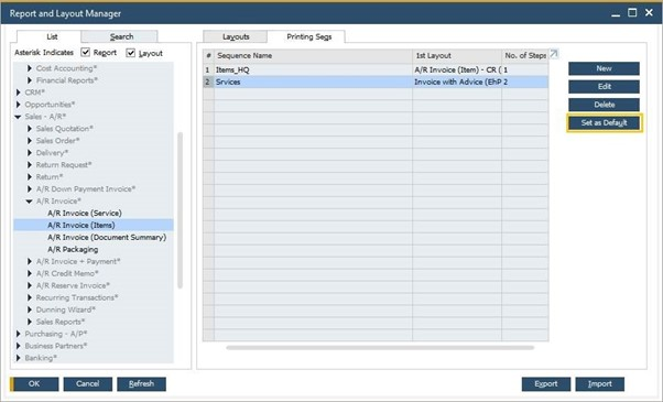 Report and layout manager