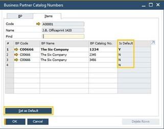 Business Partner Catalog Number