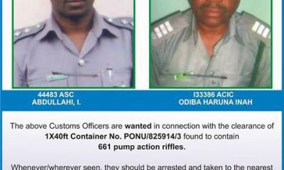 Arms Importation: Customs Declares Two Officers Wanted