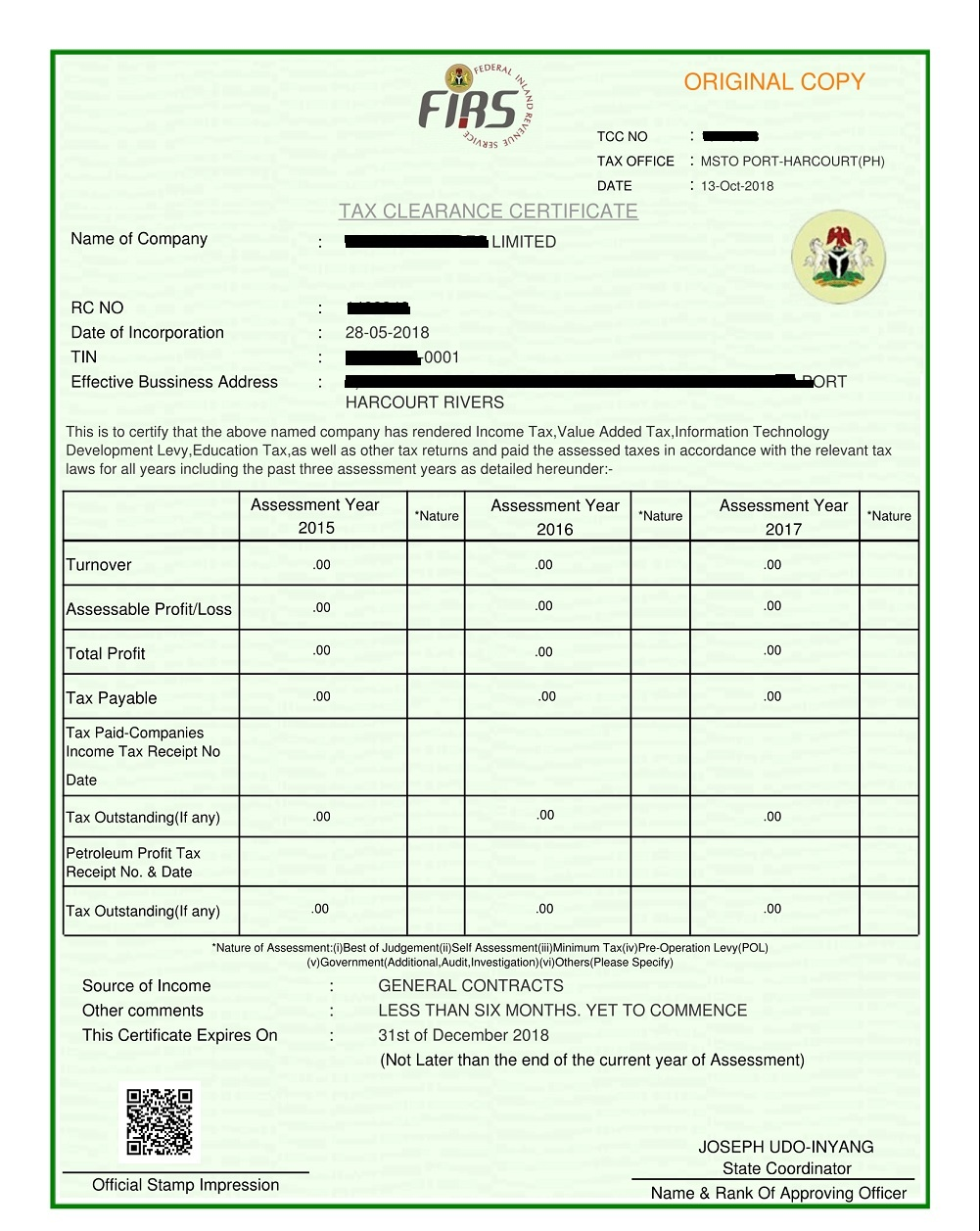 clearance certificate tax firs grace gives business revenue federal nairaland businesspost ng obtain statement nigeria signed