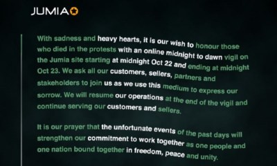 Jumia mourns #EndSARS victims