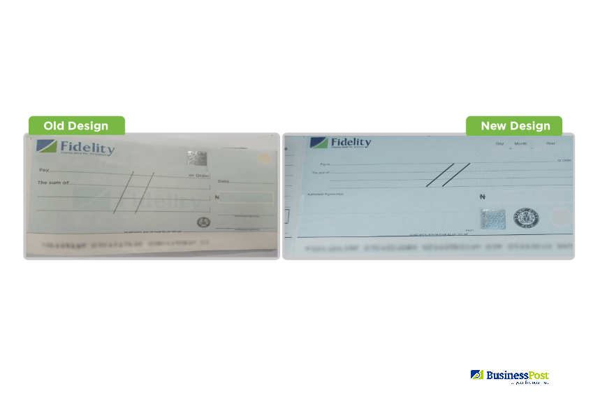 New Fidelity Bank Cheque