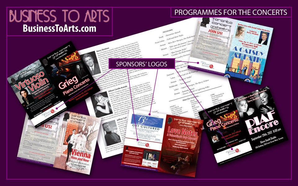 Business toArts - graphic design branded programmes for the classical concerts