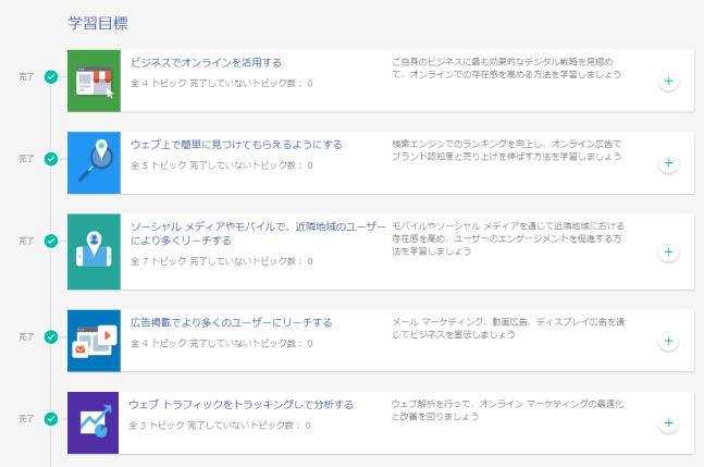 Googleデジタルワークショップの項目