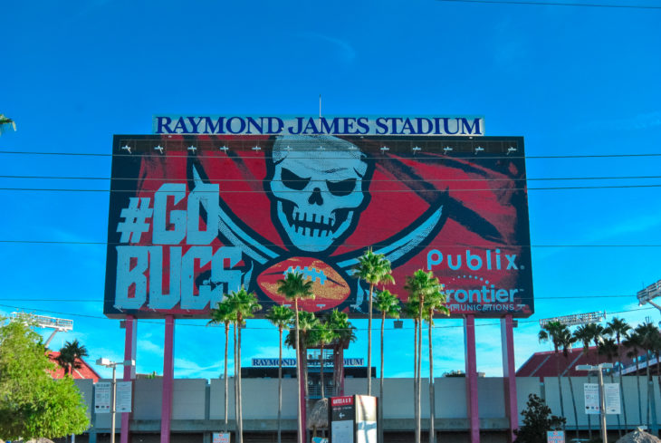 Tampa, Florida/USA August 23, 2019: Raymond James Stadium - Football field for the Tampa Bay Buccaneers, University of South Florida Bulls, and many concerts and events