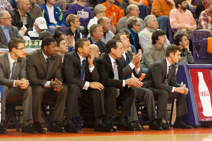 Clemson, SC - January 11, 2014 A look of concern begains to form with the Duke coaches