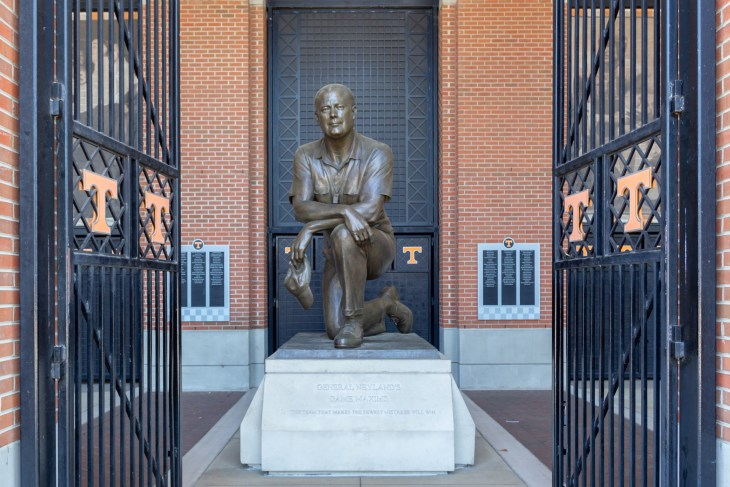 KNOXVILLE, TN/USA JUNE 4, 2018: Statue of Robert Neyland on the the campus of the University of Tennessee.