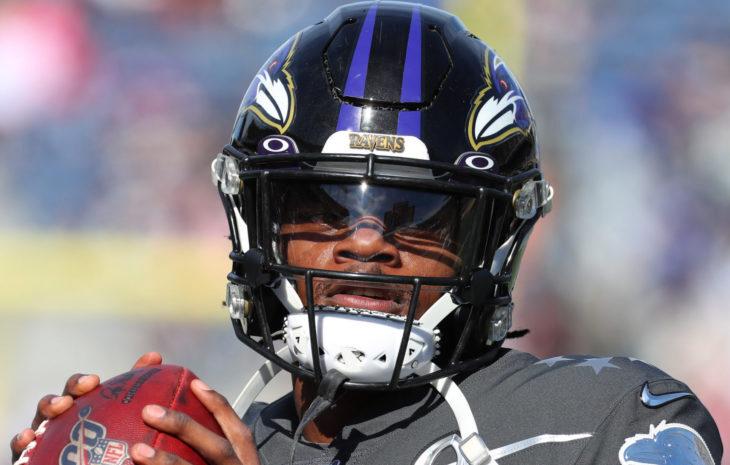 Jan 26, 2020; Orlando, FL USA; AFC quarterback Lamar Jackson of the Baltimore Ravens throws a pass during the Pro Bowl at Camping World Stadium in Orlando, Fla. (Steve Jacobson/Image of Sport)
