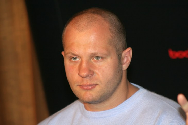 """ST.PETERSBURG, RUSSIA - APRIL 13, 2007: World champion on """"mixed fight"""" and of the World Combat Sambo Fedor Emelianenko at a press conference."""