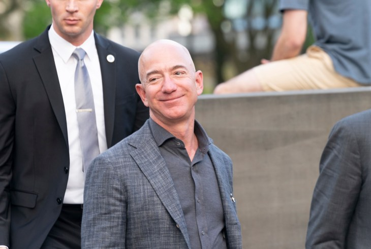 New York, NY - May 15, 2019: Jeff Bezos arrives at the Statue Of Liberty Museum Opening Celebration at Battery Park - Image