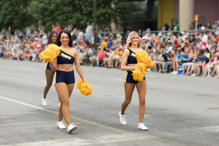 Indianapolis, Indiana, USA - May 26, 2018, The Pacers Cheerleaders walk down the street at the Indy 500 Parade