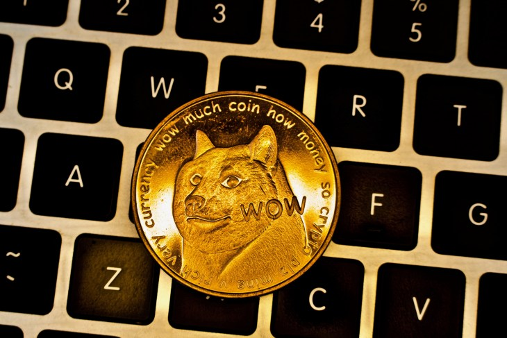 Cryptocurrency,Physical,Gold,Dogecoin,Money.