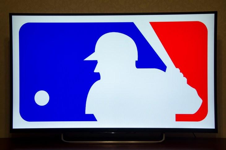 mlb logo - Kiev, Ukraine- June 5, 2018: Logo Major League Baseball on Sony TV