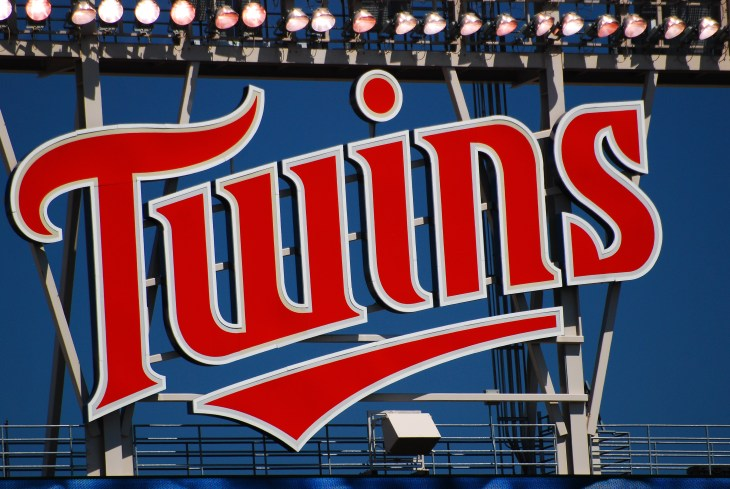 Minneapolis, MN, USA May 15, 2013 A large sign hangs over Target Field in Minneapolis, Minnesota, reminding the visiting team in whose house they are playing