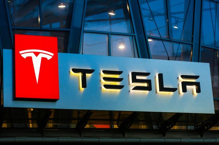 Concha Zaspa, Ukraine - July 20, 2018: Tesla sign on the building on car sales
