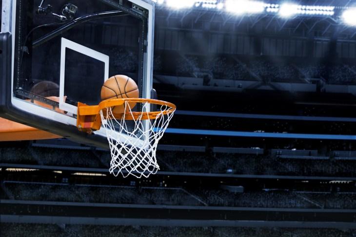 ncaa Basketball basket with all going through net