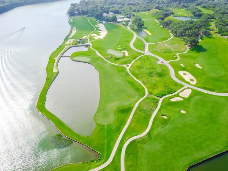 Aerial golf course at country club near Colorado River, Austin, Texas, USA.