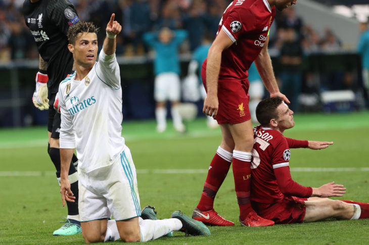 KYIV, UKRAINE - MAY 26: Cristiano Ronaldo (L) gestures during the UEFA Champions League final match between Real Madrid vs Liverpool FC , at the NSC Olimpiyskiy stadium in Kiev, on 26 May 2018