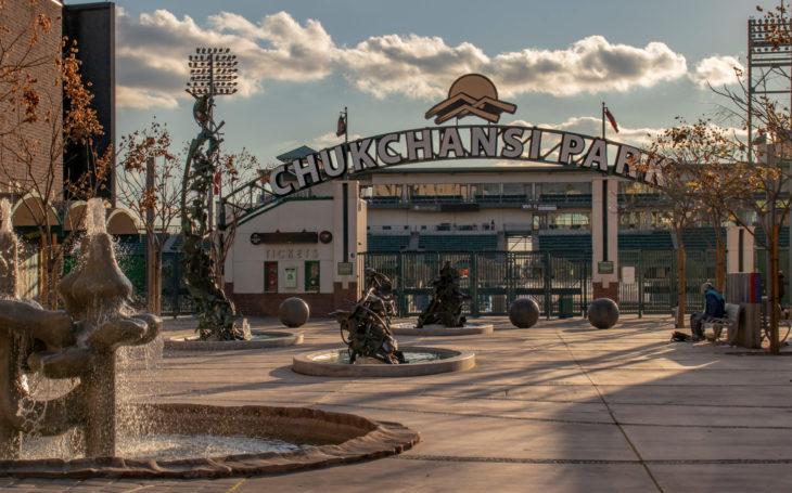Fresno, California, USA - 18 February 2019. Chukchansi Park baseball stadium in Downtown Fresno, California, home of the Fresno Grizzlies, Pacific Coast League.